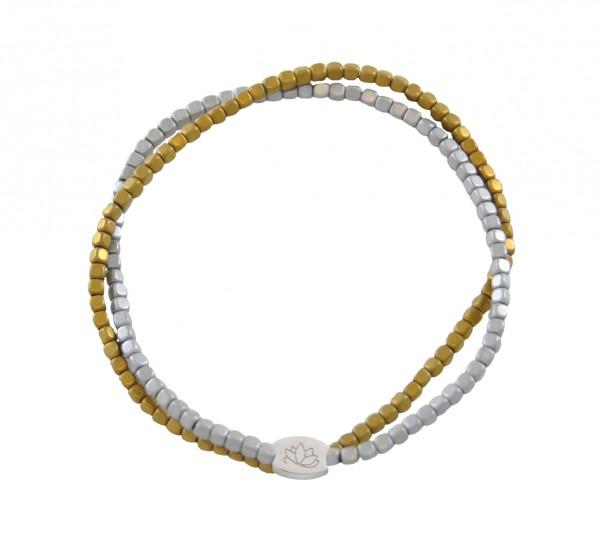 MAS jewelz Doppeltes ArmbandSilber/ Gold 4mm