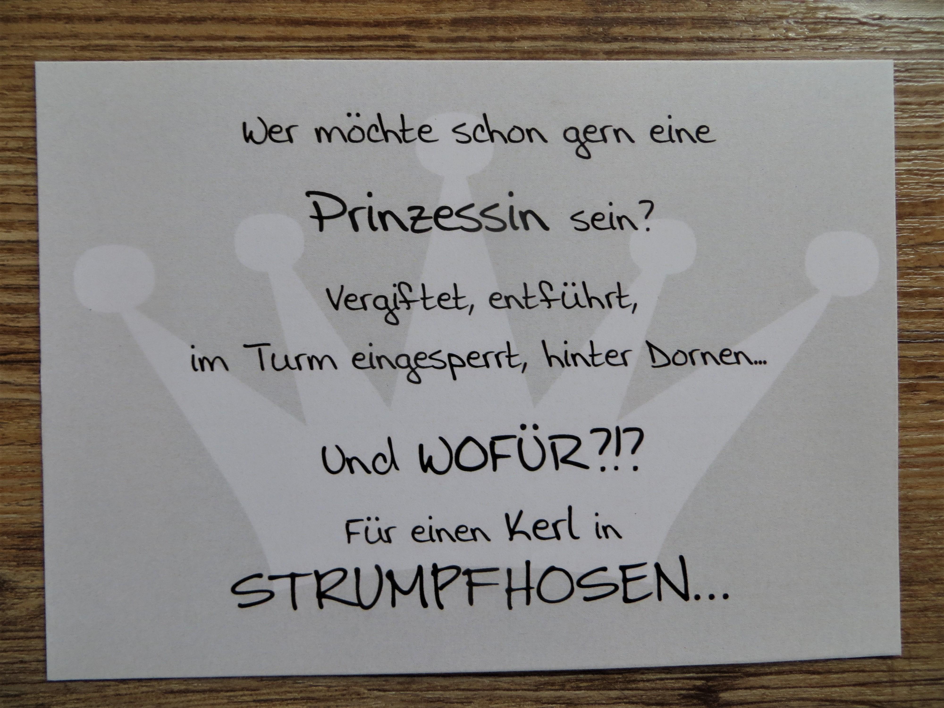 Nützlichgrusskarten - Karte Postkarte Wer möchte schon gern eine Prinzessin sein - Onlineshop Tante Emmer