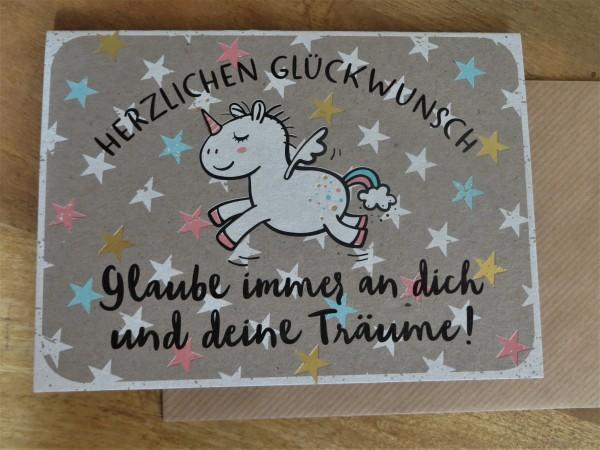 """Klappkarte / Umschlagkarte """"Herzlichen Glückwunsch Glaube immer an dich...!"""" KUNST und BILD"""