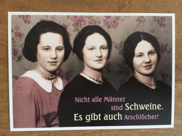 """Postkarte Karte """"NIcht alle Männer sind Schweine. Es gibt auch Arschlöcher!"""" Paloma"""