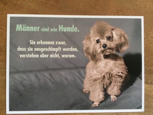 """Postkarte Karte """"Männer sind wie Hunde. Sie erkennen zwar, dass sie ausgeschimpft werden, ..."""" Palom"""