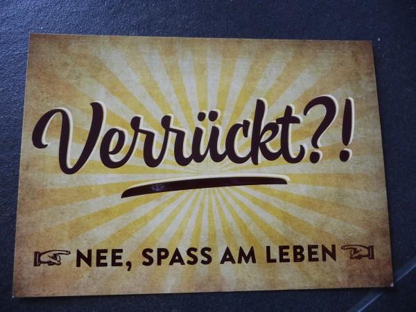 """Postkarte """"Verrückt?! NEE, SPASS AM LEBEN"""" Vintage Art"""