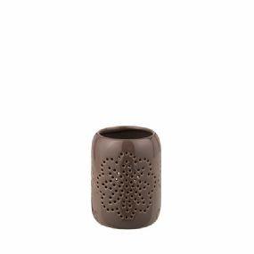 "Teelichthalter ""Magneta"" Keramik dunkel Leinen mittel broste copenhagen"