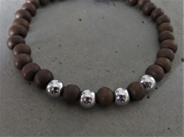 MAS jewelz Armband Silber/ Holz 6mm