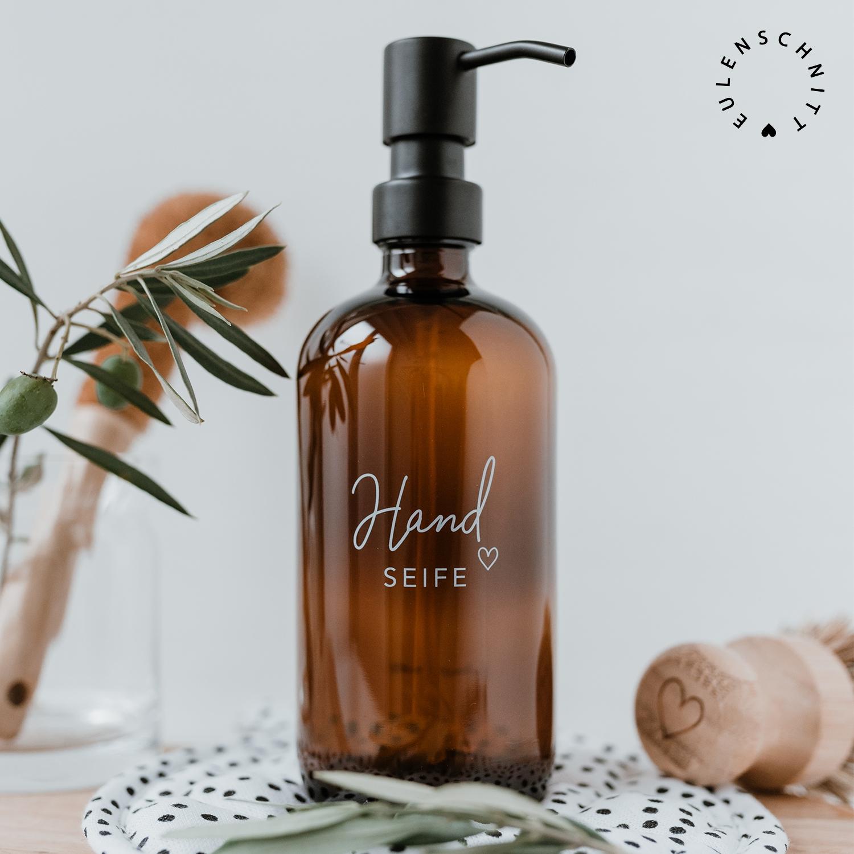 Nützlichwellness - Glasflasche Pump Spender HandSEIFE 500ml Braunglas Eulenschnitt - Onlineshop Tante Emmer