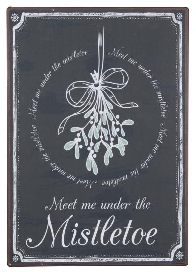 Metallschild Meet me under the Mistletoe