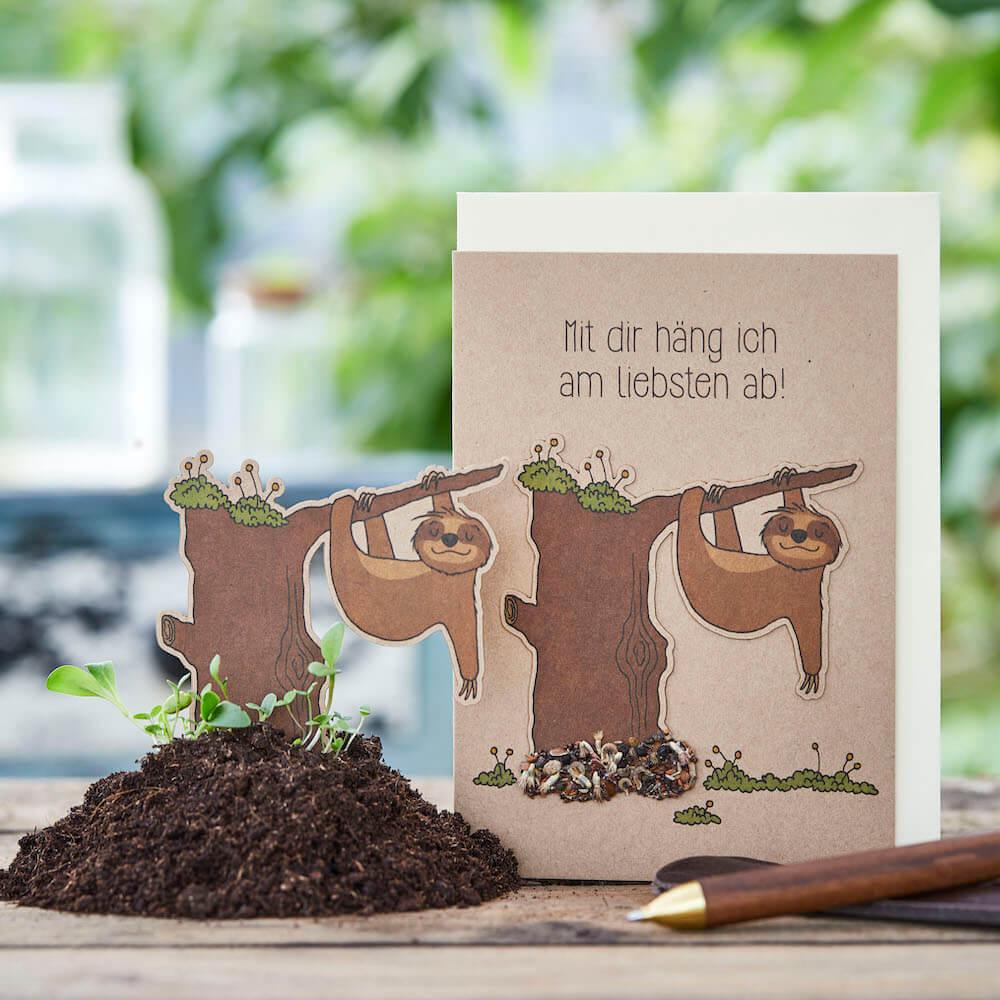 - Grußkarte Mit dir häng ich am liebsten ab mit Wildblumen Saatstecker - Onlineshop Tante Emmer