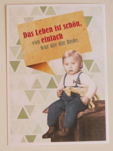 """Postkarte Karte """"Das Leben ist schön, von einfach war nie die Rede."""" Paloma"""