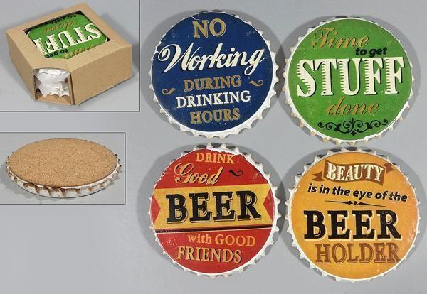 Steinuntersetzer 4er Set: No working during drinking hours, Time to get stuff done, Drink good beer