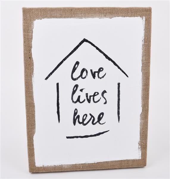 """Wandbild Schild """"Love lives here"""""""