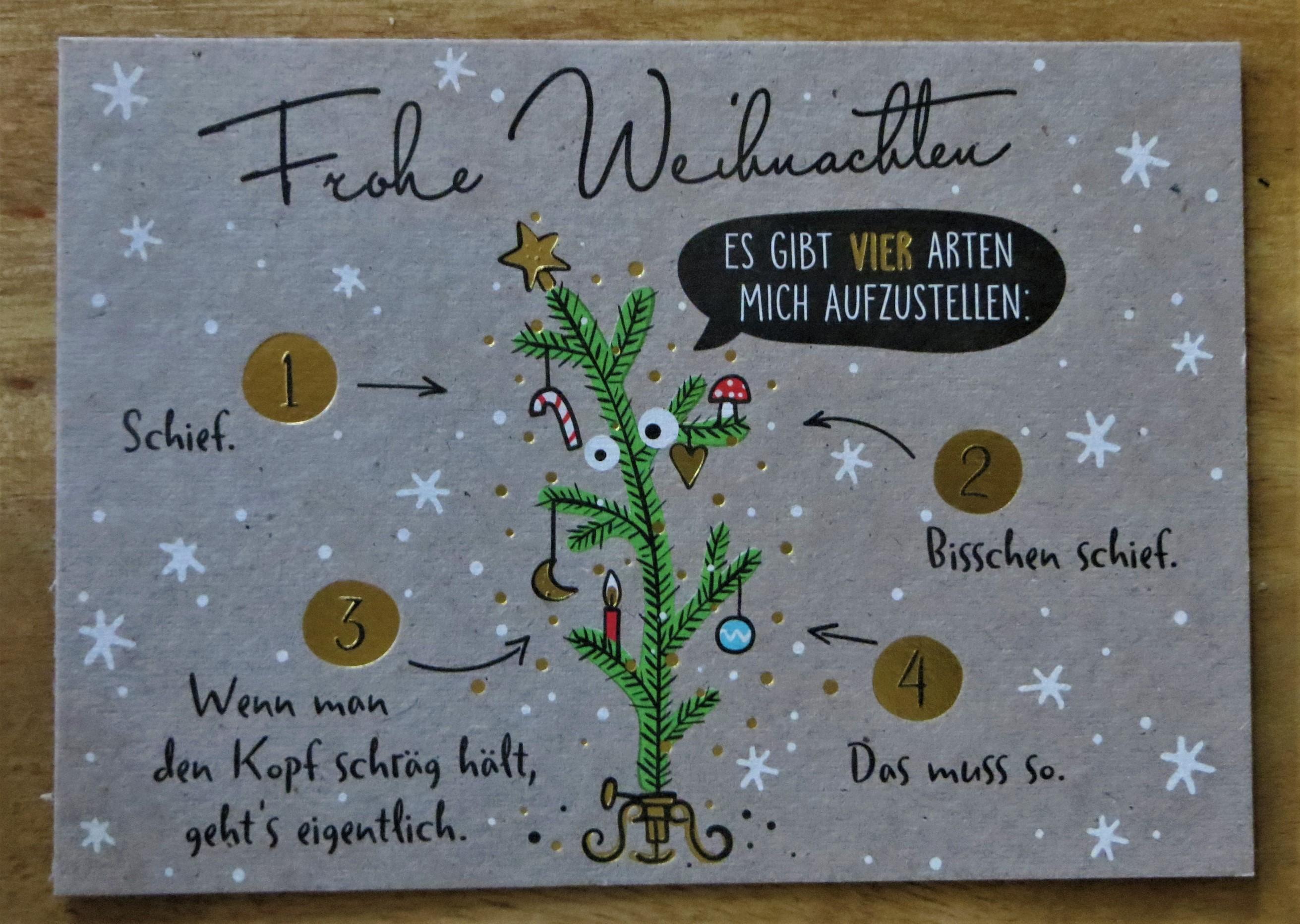 Nützlichgrusskarten - Postkarte Es gibt VIER Arten mich aufzustellen Schief bisschen schief... - Onlineshop Tante Emmer