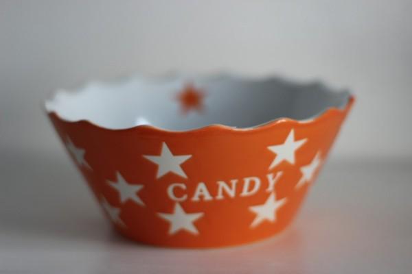 Candy orangene Schale Schüssel mit Sternen Krasilnikoff