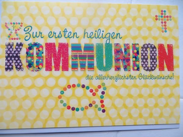 """Klappkarte """"Zur ersten heiligen Kommunion die allerherzlichsten Glückwünsche!"""""""