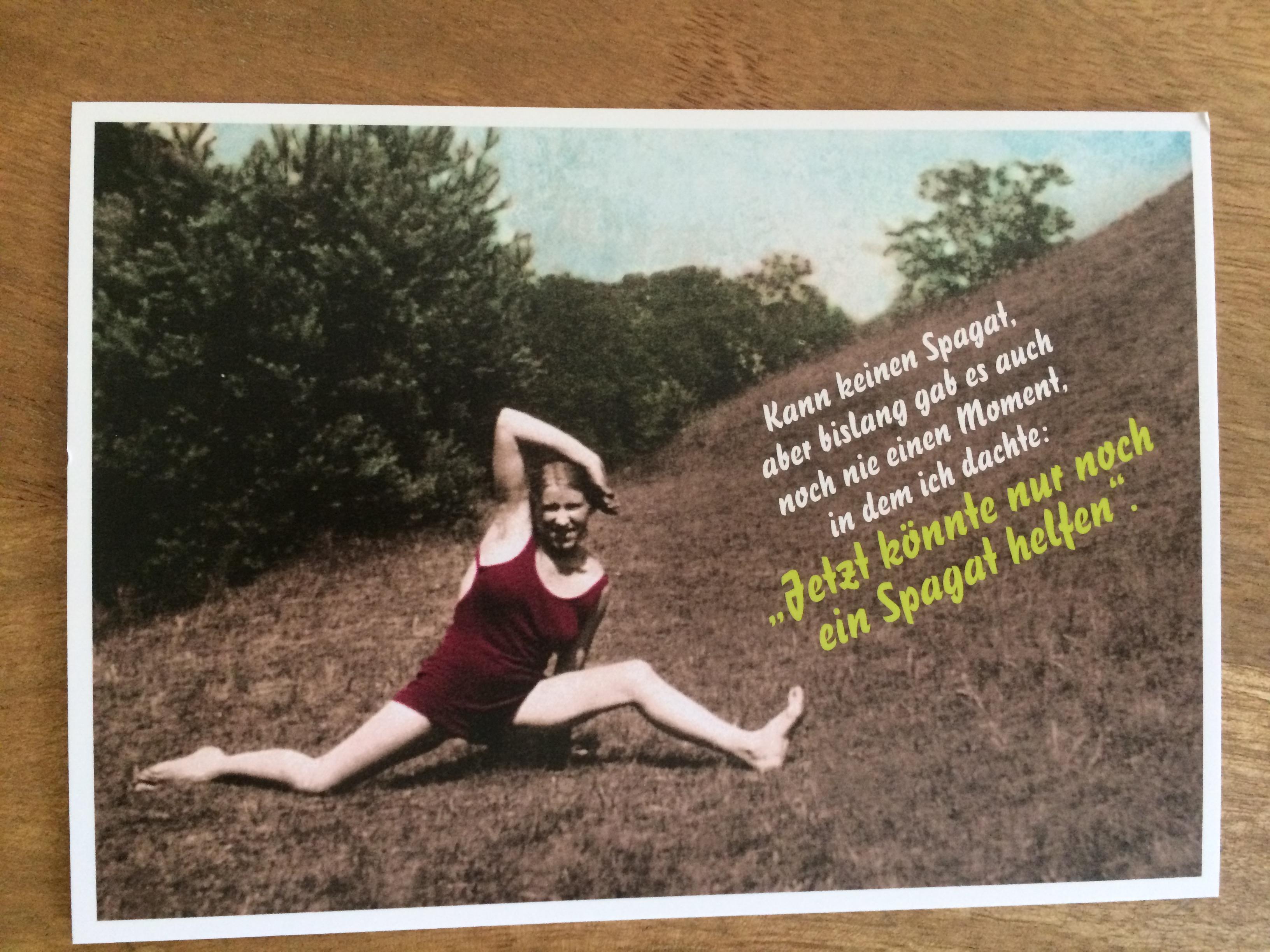 Postkarte Karte Kann keinen Spagat aber bislang gab es auch noch nie einen Moment in dem ich dach