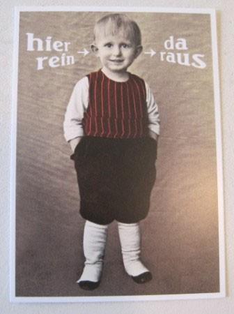 "Postkarte Karte ""hier rein - da raus"" Paloma"