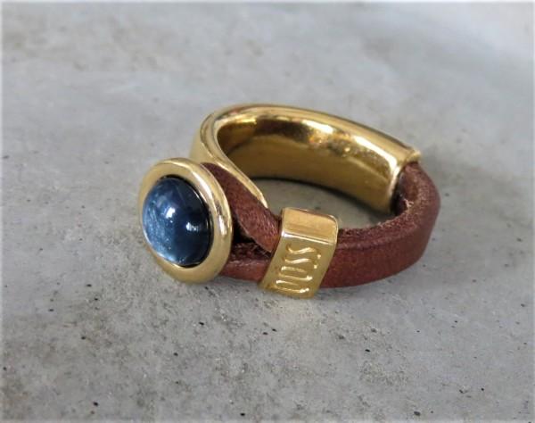 QOSS Fingerring GWEN GOLD Braun-Jeansblau, S