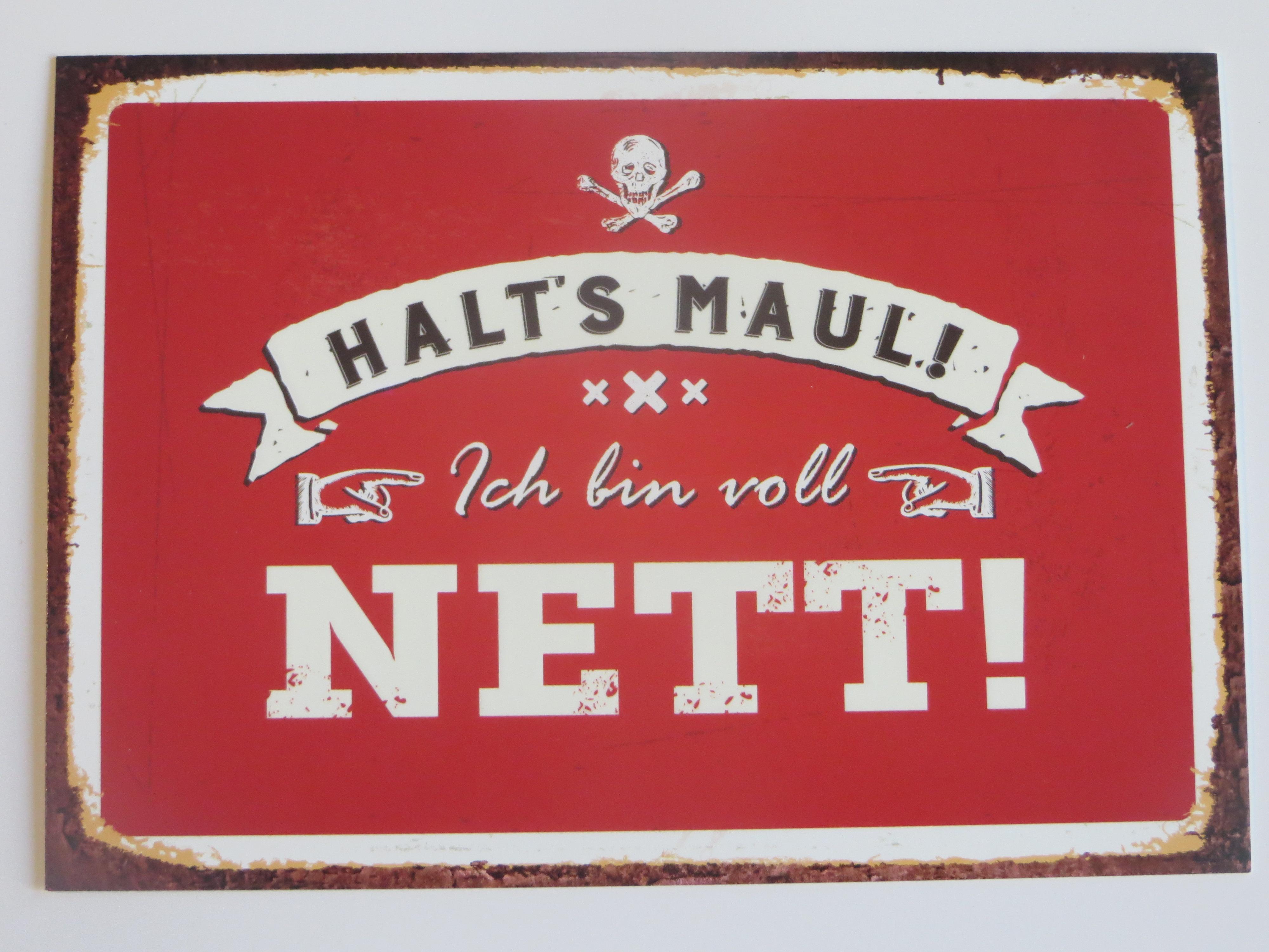 Postkarte Halts Maul Ich bin voll nett