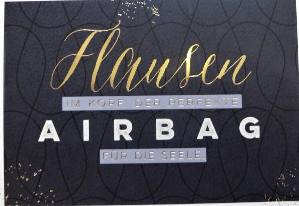 """Postkarte """"Flausen im Kopf. Der perfekte AIRBAG für die Seele."""" VintageArt"""
