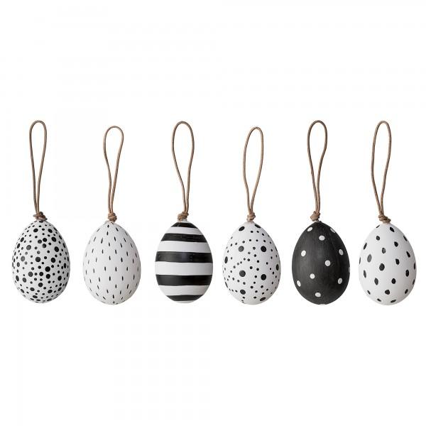Deko-Eier schwarz-weiß, 6er Set