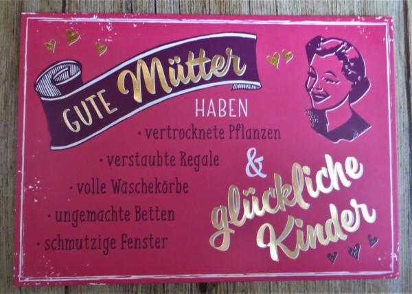 """Postkarte """"Gute Mütter HABEN vertrocknete Pflanzen, verstaubte Regale, volle Wäschekörbe....."""" Vin"""