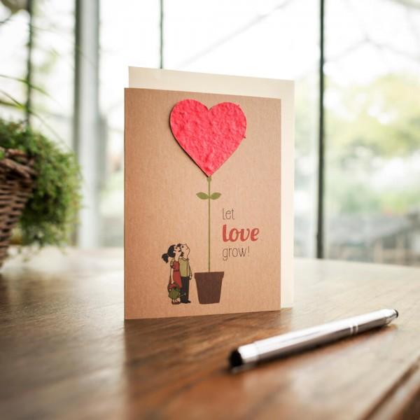 "Grußkarte ""Let Love Grow"", mit Wildblumen-Saatpapier"