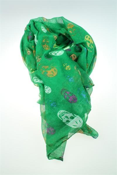 Halstuch / Schal grün mit bunten Totenköpfen La Finesse
