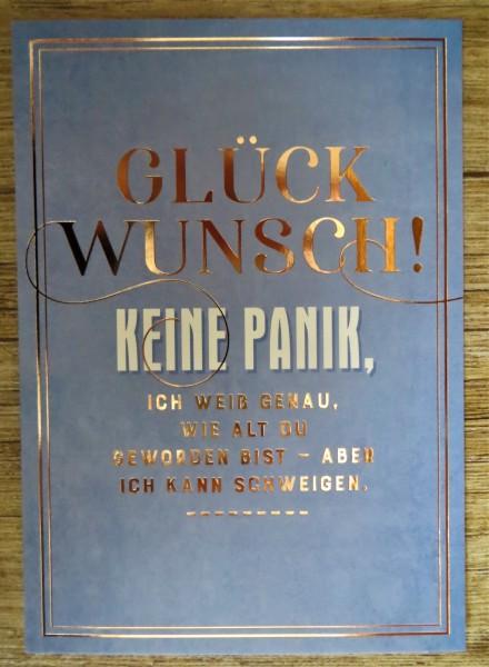"""Postkarte """"GLÜCKWUNSCH! KEINE PANIK, ICH WEIß GENAU, WIE ALT DU...."""" VintageArt"""