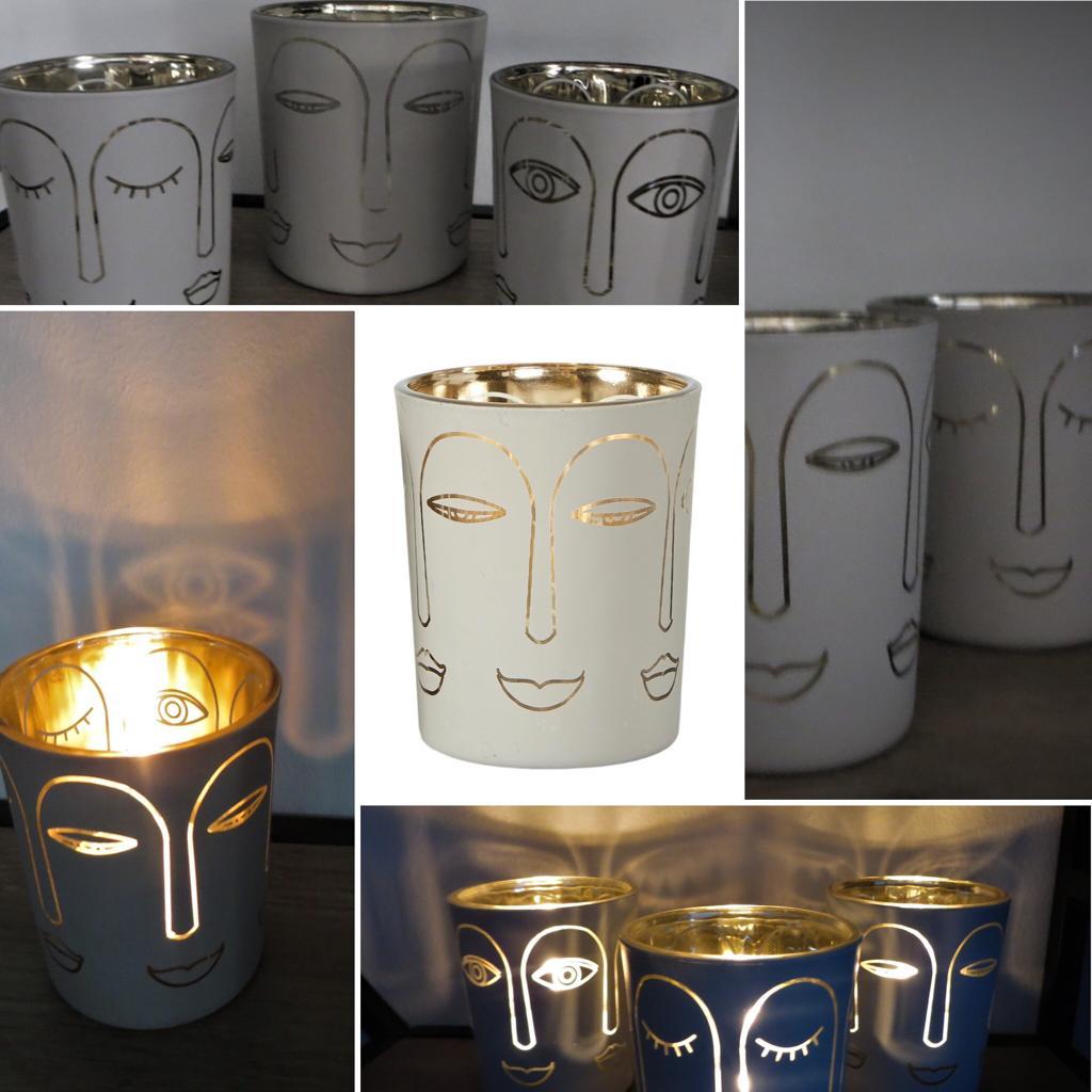 Nützlichdekoration - Glas Windlicht Gesicht GrauSandfarben Gold 7cm Speedtsberg - Onlineshop Tante Emmer