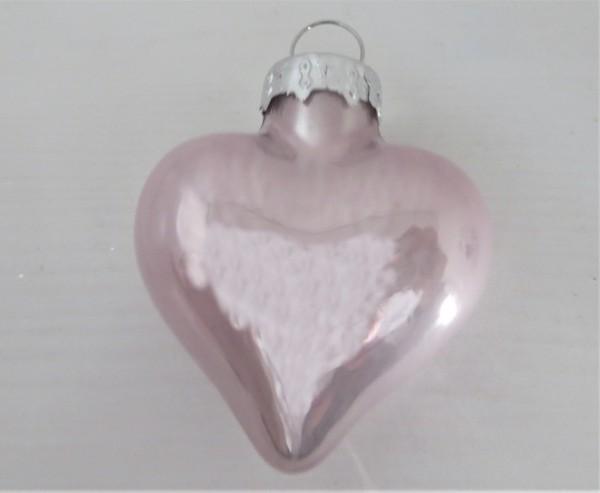Christbaumschmuck Glasherz rosa glänzend 40 mm
