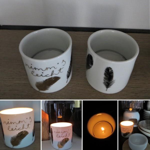 """Teelichthalter Helle Freude """"nimm´s leicht"""", räder"""