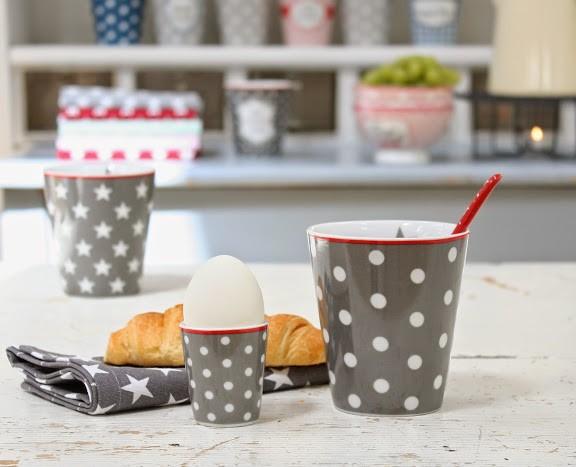 Egg holder charcoal with dots Eierbecher dunkelgrau mit Punkten Krasilnikoff