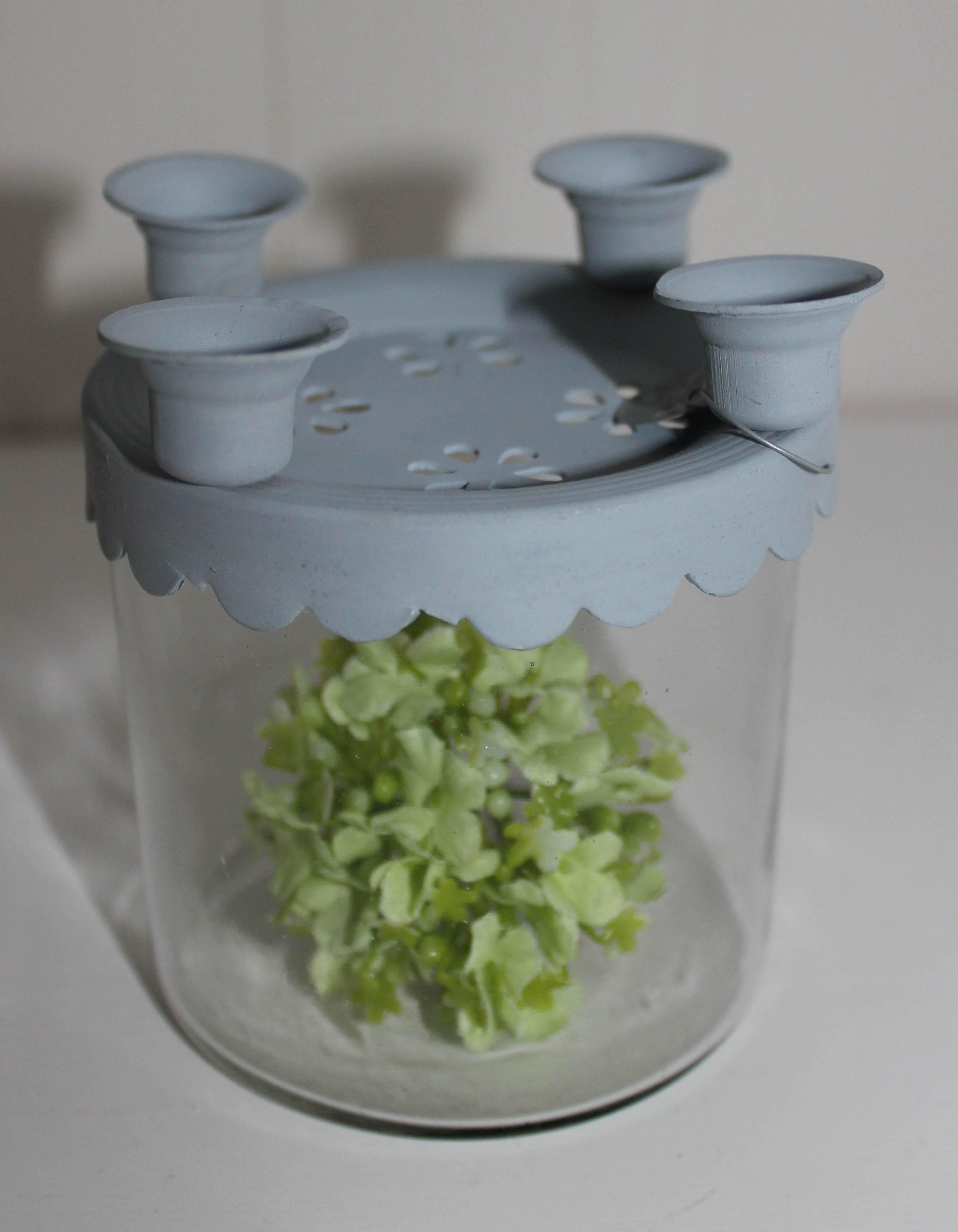 Kerzenhalter für 4 Kerzen Aufsatz mit Glas VL Home Collection
