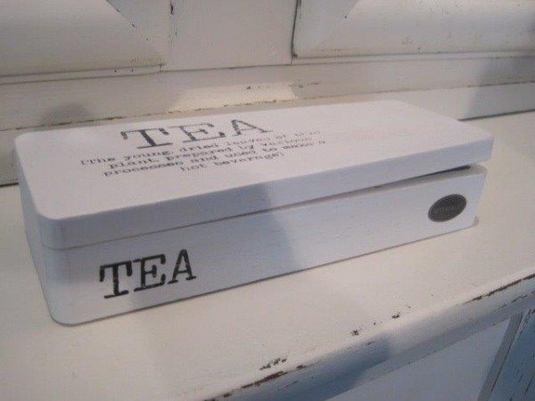 Teebox aus Holz in weiß Riverdale