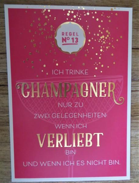 """Postkarte """"REGEL No13 ICH TRINKE CHAMPAGNER NUR ZU ZWEI GELEGENHEITEN..."""" VintageArt"""