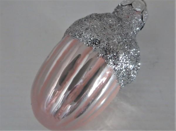 Christbaumschmuck Glaseichel rosa glänzend 45 mm