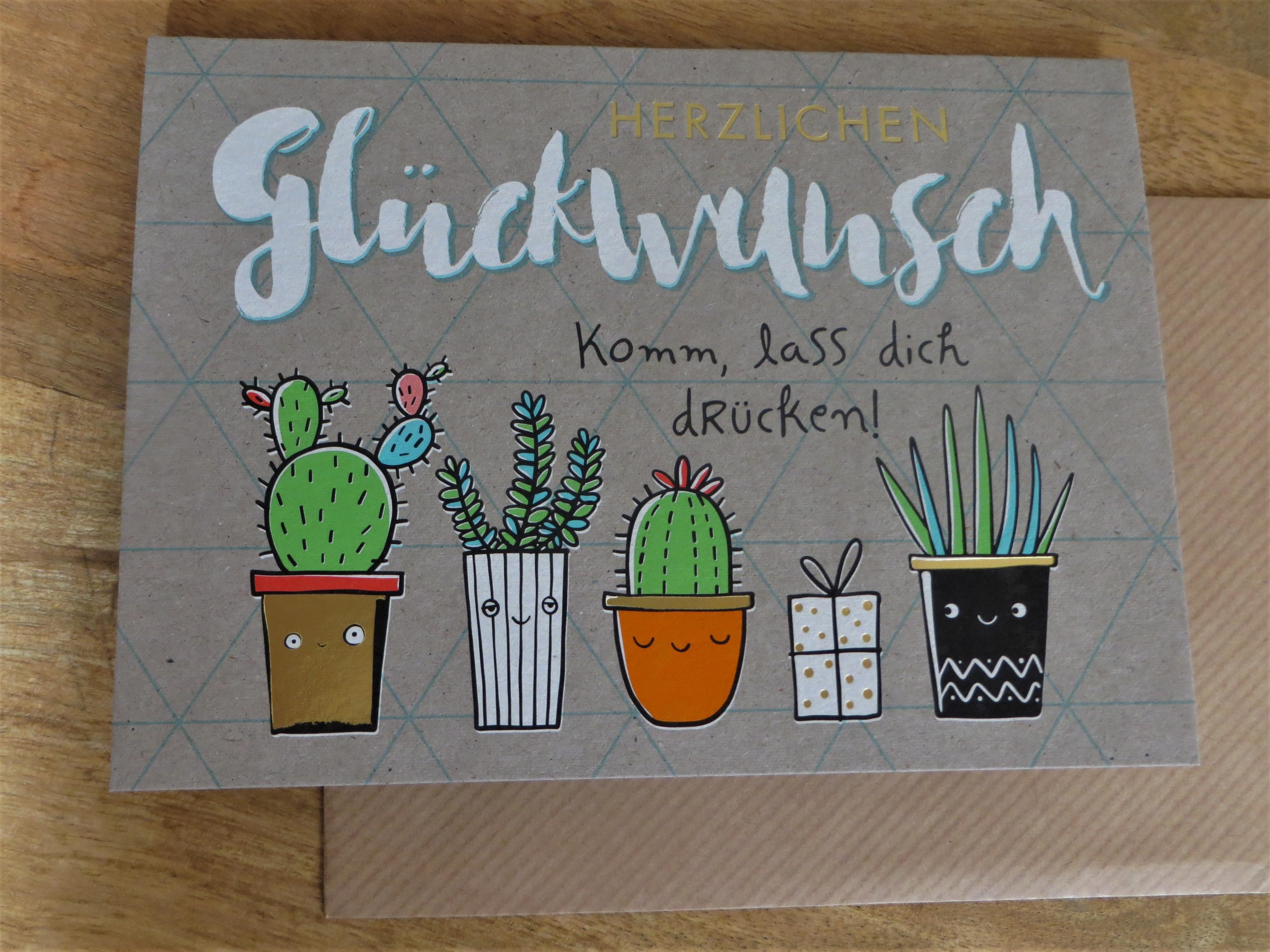 Nützlichgrusskarten - Klappkarte Umschlagkarte HERZLICHEN Glückwunsch Komm lass... KUNST und BILD - Onlineshop Tante Emmer