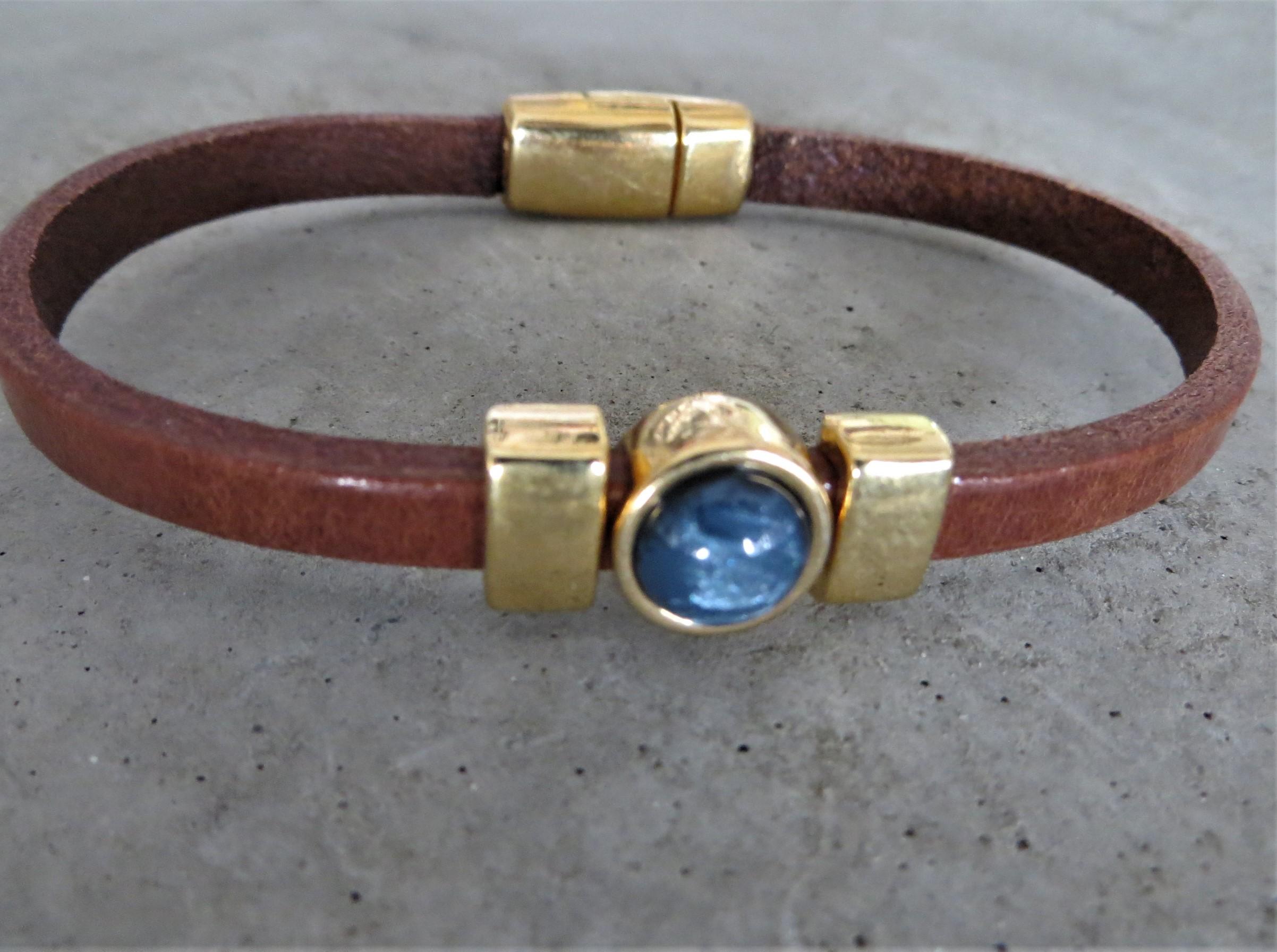 Armbaender - QOSS Armband CHARLOTTE GOLD Braun Jeansblau L  - Onlineshop Tante Emmer
