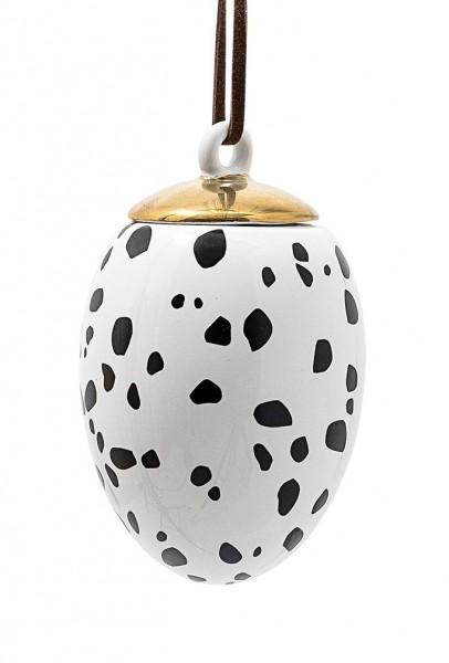 Oster-Ei Weiß, mit schwarzen Flecken