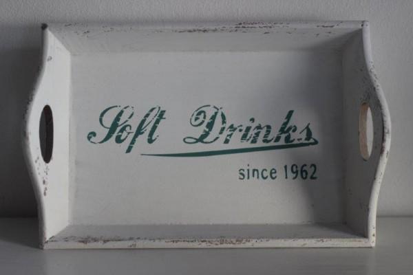 """Holztablett mit Griffen mit Schriftzug """"Soft drinks"""" weiß"""