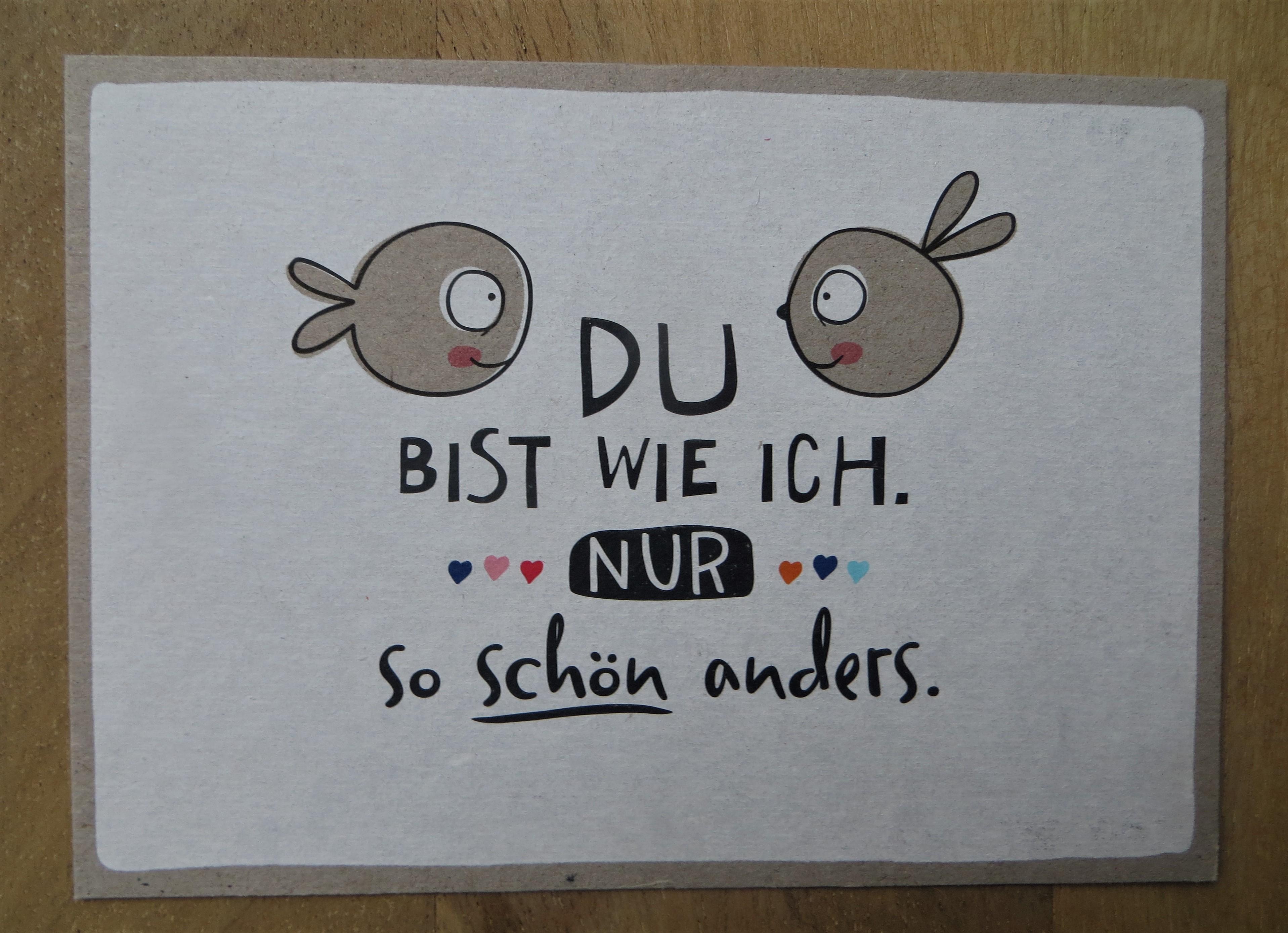 Nützlichgrusskarten - Postkarte Du bist wie ich. Nur so schön anders. KUNST und BILD - Onlineshop Tante Emmer