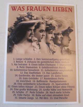 Nützlichgrusskarten - Postkarte Karte Was Frauen lieben 1. Lange schlafen 2. .... Paloma - Onlineshop Tante Emmer