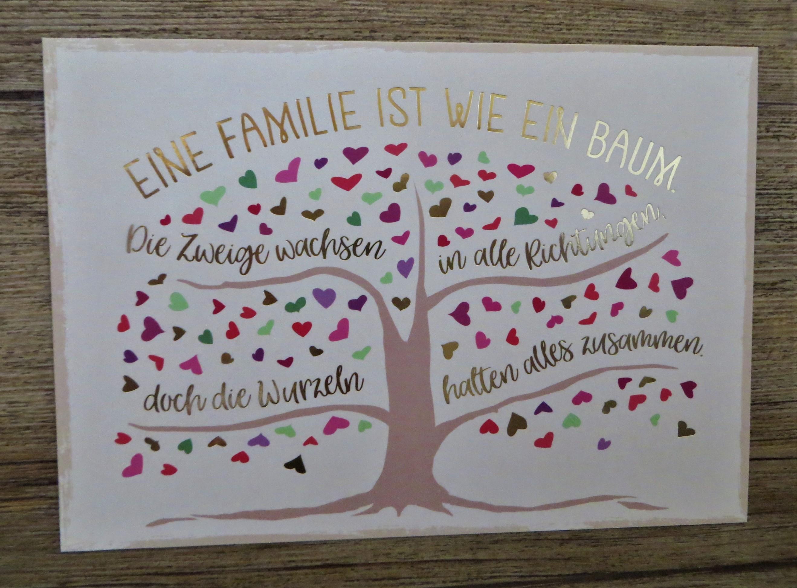Nützlichgrusskarten - Postkarte EINE FAMILIE IST WIE EIN BAUM. Die Zweige wachsen in alle Richtungen... VintageArt - Onlineshop Tante Emmer