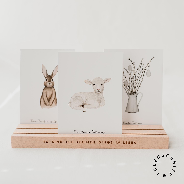Nützlichwohnaccessoires - Kartenständer Kleine Dinge im Leben aus Holz 25 cm Natur Eulenschnitt - Onlineshop Tante Emmer