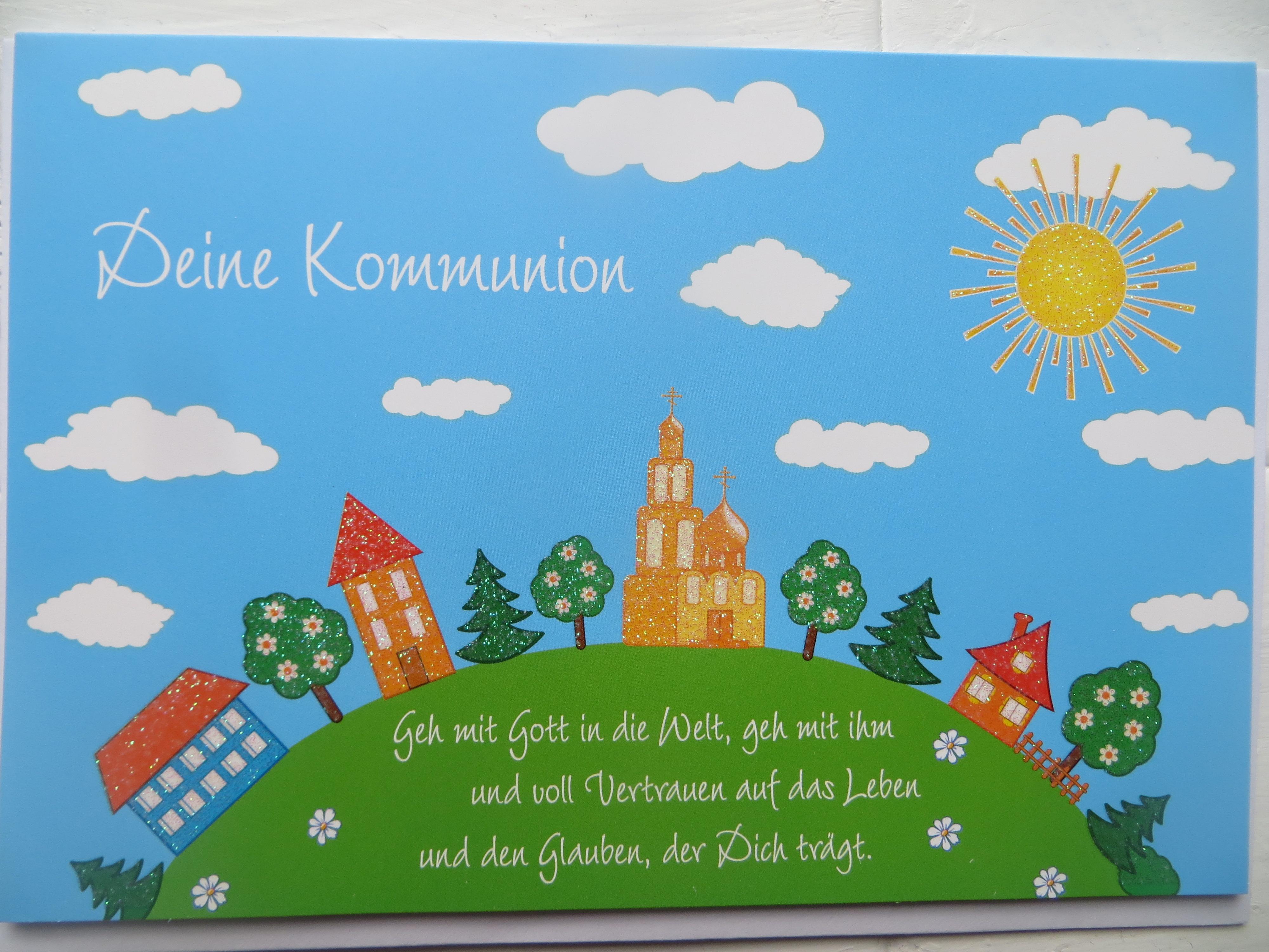 Nützlichgrusskarten - Klappkarte Deine Kommunion Geh mit Gott in die Welt. - Onlineshop Tante Emmer