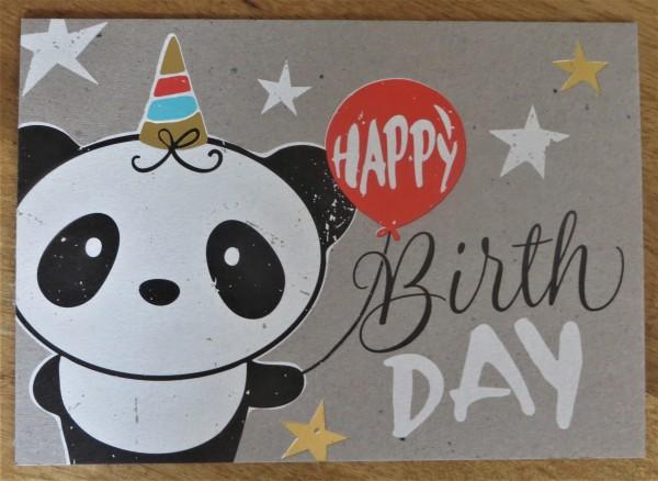 """Postkarte """"HAPPY BirthDAY"""" Panda KUNST und BILD"""
