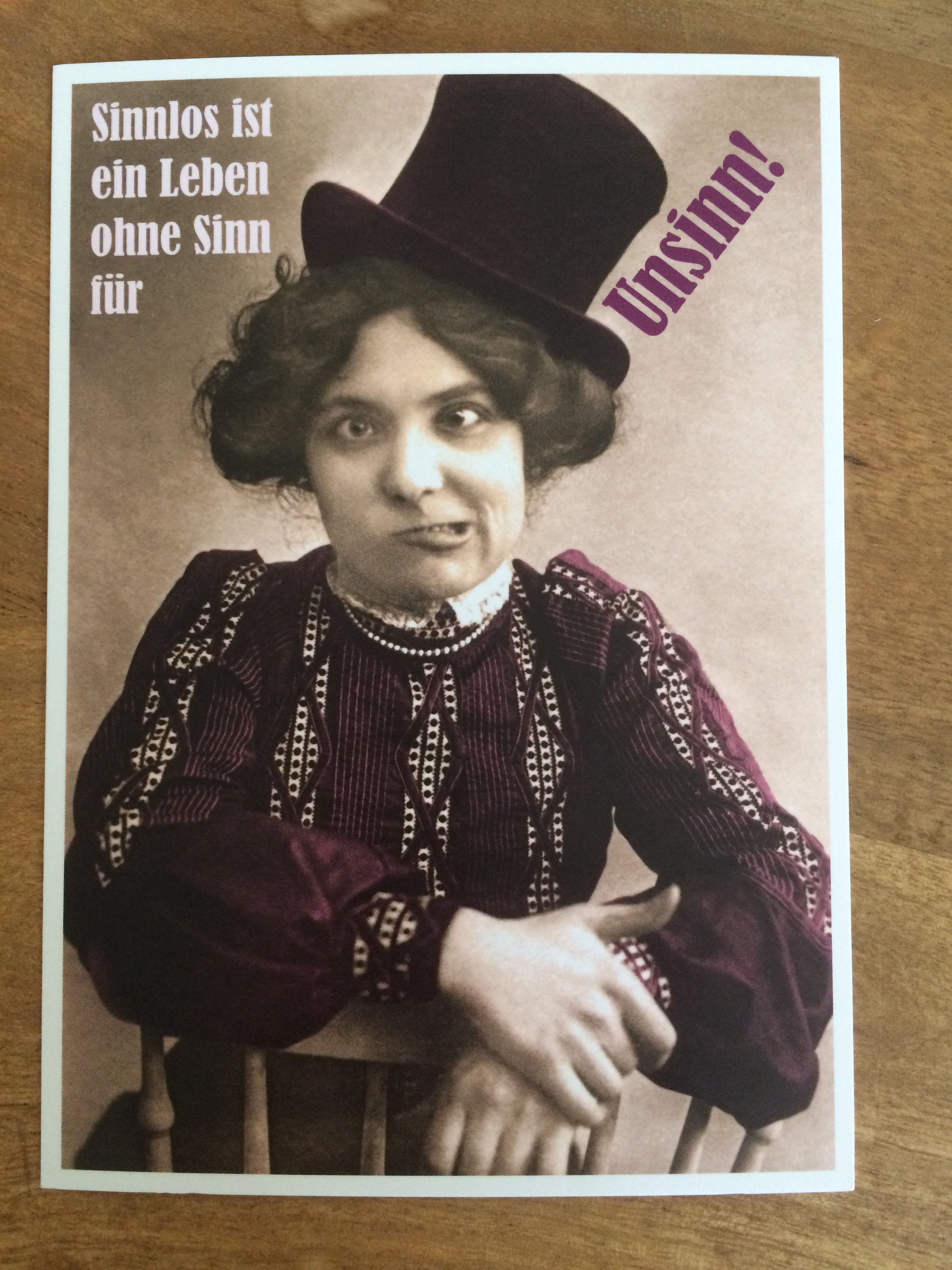 Postkarte Karte Sinnlos ist ein Leben ohne Sinn für Unsinn Paloma