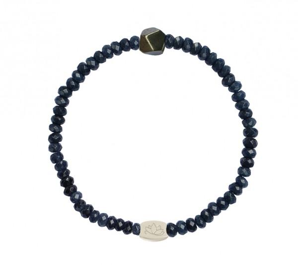MAS jewelz Armband im Facettenschliff, Blauer Achat/ Pyrit