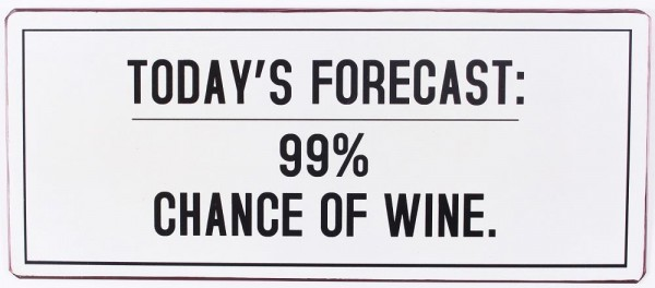 "Metall Schild ""Today's forecast: 99% chance of wine"""