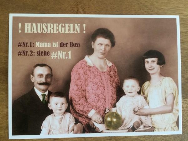 """Postkarte Karte """"!Hausregeln! #Nr. 1: Mama ist der Boss #Nr. 2: siehe #Nr. 1"""" Paloma"""