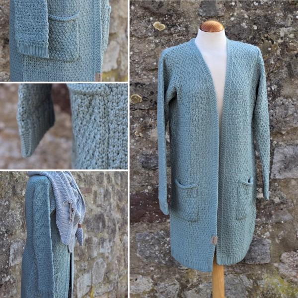 Strickjacke LUNA mit Taschen, Stone Green (Gr. 36-38), Knitfactory
